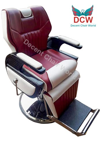 0 Decent Salon Chair World Indore Big Boss Salon Parlour Chair Indore - DCW White and Maroon Parlour chair | Barber Chair | Salon Chair